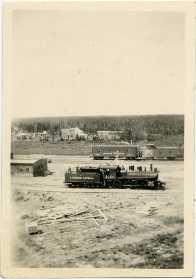 A photograph of a locomotive in Gillam, Manitoba in the 1920s. Source: Nan Shipley fonds.