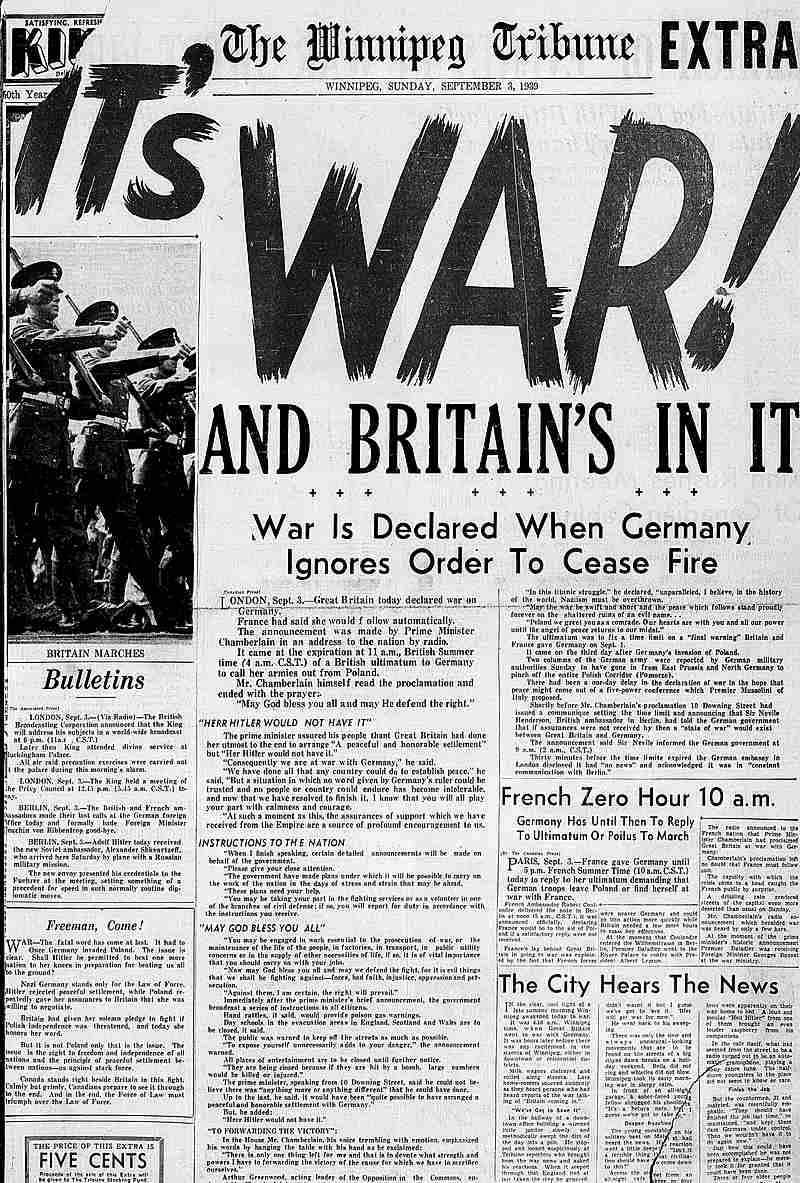 "Winnipeg Tribune cover page announcing ""It's War! And Britain's In It"". September 3, 1939."