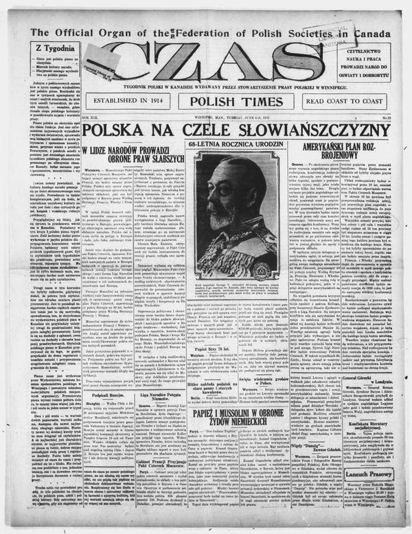Front page of Czas, June 6, 1933.
