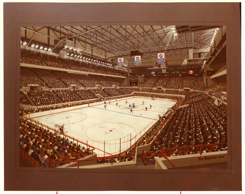 A photograph of the interior of Winnipeg Arena, full of fans at a Winnipeg Jets game. Source: Winnipeg Tribune fonds.