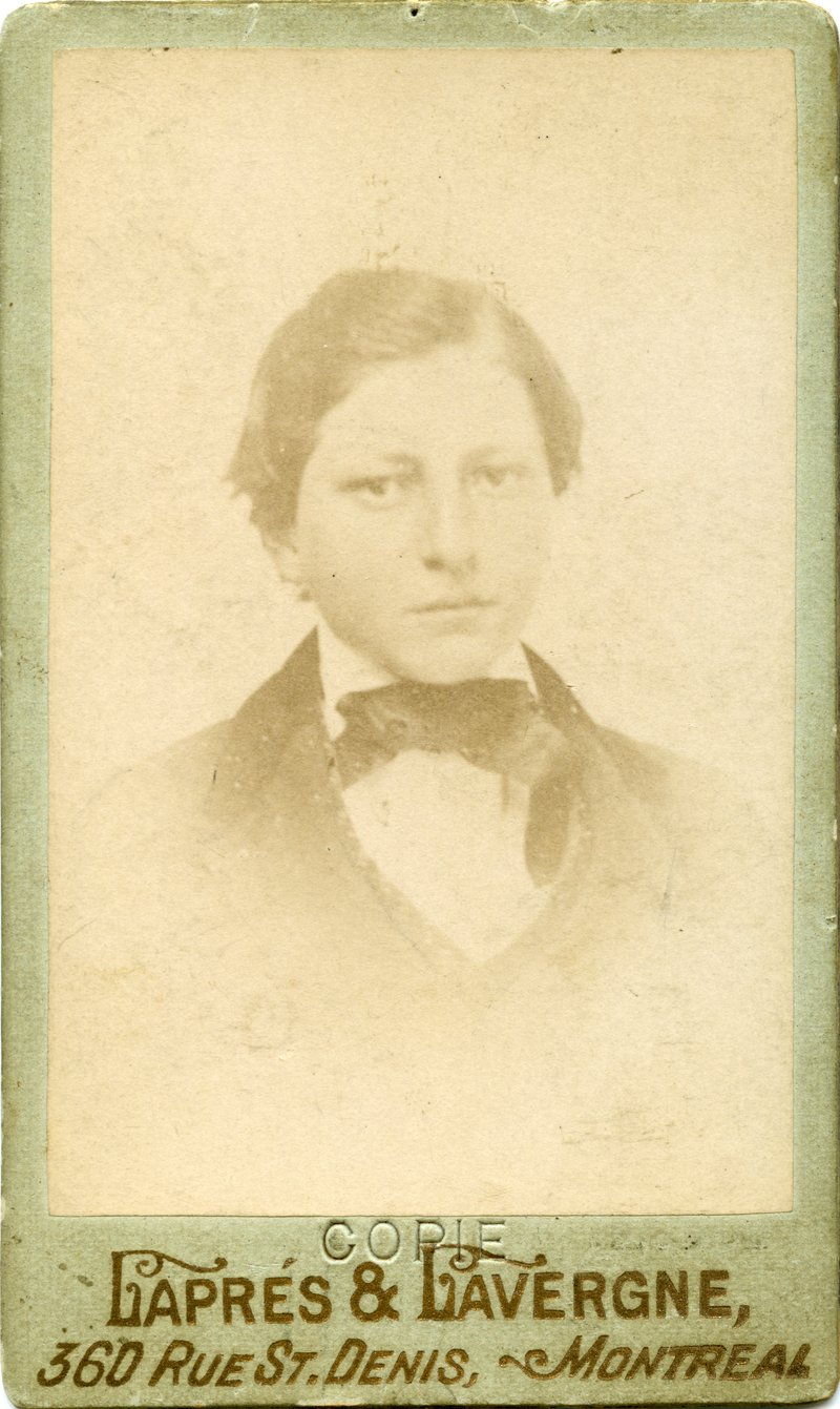 A photograph of Louis Riel, age 14. This black-and-white portrait was taken in Montréal in 1858 and depicts Riel as a student at the Petit Séminaire at the Collège de Montréal; it is the earliest known photograph of Riel. Source: Louis Riel Photograph Collection.